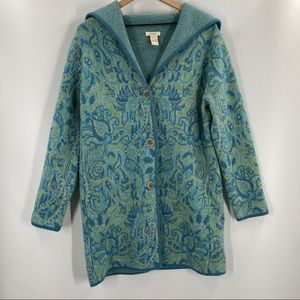 Sundance- Long Blue Paisley 100% Lambswool Sweater